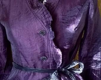 Beautiful wrapround Purple top/jacket ribbon tie waist 12/14 Gothic Boho Whitby Wedding Steampunk Cosplay
