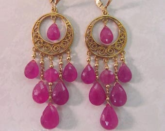 34.92CTW Genuine Natural PINK SAPPHIRE faceted briolettes beads gold metal & gold filled chandelier earrings