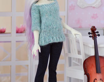 Minifee/ MSD /Unoa/Narae/Peakswoods hand knitted green-greyish Pullover