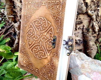 Celtic Love Knot Leather Journal - Handmade Notebook - Rustic Journal - Medieval Journal - Adventures Leather Travel Book - Embossed Journal