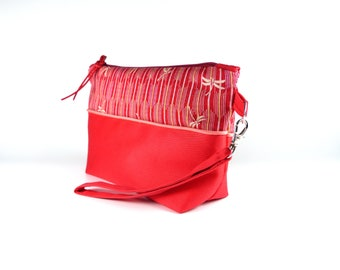 Red Small bag / pouch, Japanese fabric cotton,