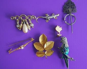 Job Lot 6 x Vintage Costume Jewelry Brooches