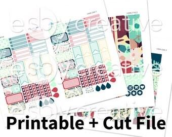 Sale - 25% Off! Handdrawn Floral (Blue + Red) - Erin Condren Horizontal Weekly Sticker Kit Printable - HWK-044 - INSTANT DOWNLOAD