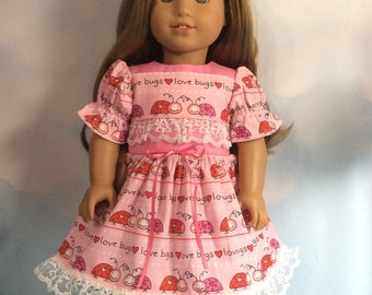 """Love bugs dress fits 18"""" American girl dolls and dolls similar to size"""