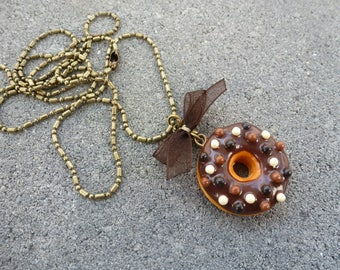 NECKLACE handmade polymer clay jewelry gourmet CREATION ORIGINAL DONUT gift idea 3 chocolate BRONZE old @lucothe