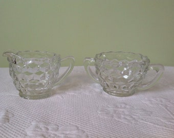 """Jeannette Glass - creamer and sugar depression glass - pattern """"cube"""" / / made in the United States"""
