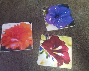 Choice of Handmade Flower Coasters - Set of 4 or 6
