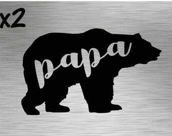 TWO - Papa Bear Decals - Stickers Vinyl Mama Mother Father