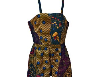 african print romper with cami bodice straps and side pockets // african romper // african jumpsuit // ankara playsuit // african playsuit