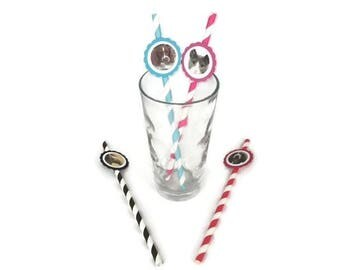 Pet custom animal party straws-YOUR PET on a party straw cat,dog,horse,hamster,guinea pig,rabbit theme birthday party