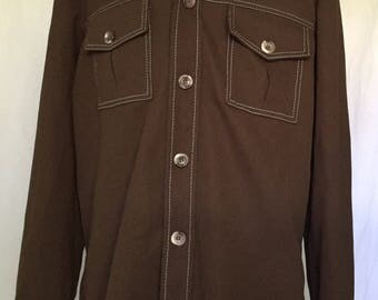 Men's Brown Polyester Oxford Long Sleeve Shirt, Size Large, Chest 47.5, 100% Polyester, Permi Press, Adjustable Button Cuff Sleeve