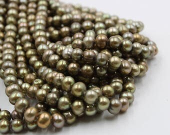 7 mm green round freshwater pearls, green round pearl,15'' full strand, round pearl strands, pearl wholesale