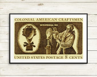 Colonial craftsmen, wigmaker, USA bicentennial, antique postage stamps, unique wall art, gifts for hairdressers, stylist gifts, craftsperson