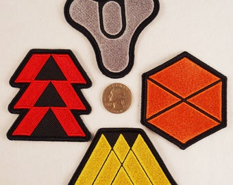 Destiny patches. Player Classes. Hunter, Titan, Warlock. Iron-on, but still sewable.