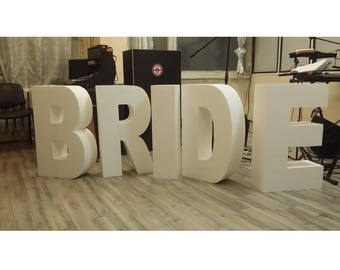 Bride letters Set of 5 Giant styrofoam letter Giant wedding letters Huge wedding letters Wedding decoration 30 inches tall 8 inches deep