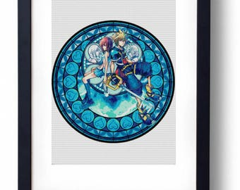 Kingdom Hearts Sora Kairi Stained Glass Disney (Cross stitch embroidery pattern pdf)