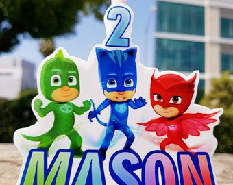 PJ Masks Cake Topper Wax Candle, Personalized Birthday Candle,