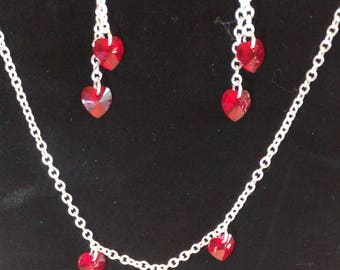 Red Heart Crystal Necklace and Earring Set