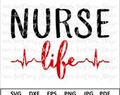 Nurse life SVG Nurse Svg file Nurselife Svg Nurse Silhouette Cameo Nurse cut file Cardio svg file for Cricut RN Svg Heartbeat Svg Dxf Png