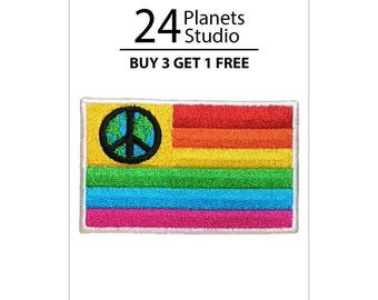 Peace Flag Iron on Patch by 24PlanetsStudio
