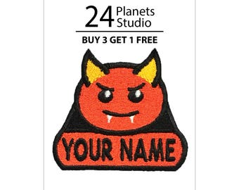"Devil ""Your Name"" Iron on Patch by 24PlanetsStudio Your Text Custom Made DIY"