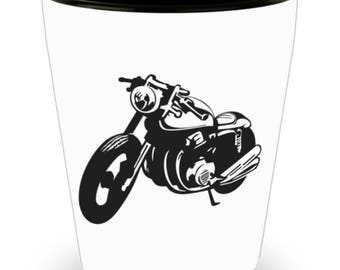 Shot Glass Motorcycle Rider! Biker Accessory, Rider Gift /  Black Ink Drawing of Motorcycle for Biker on White Ceramic Shot Glass Gift!
