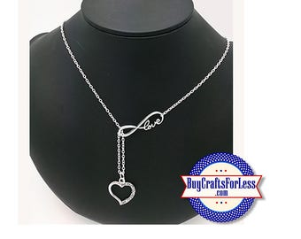 """Infinity HEART Necklace, Silver Finish, 24"""" +FREE SHIPPING & Discounts*"""