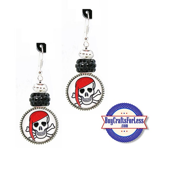 PiRATE / HALLOWEEN EARRiNGS, Glass Cabochon, Sparkle Beads, FREE Gift BoX!!  +FREE SHiPPiNG & Discounts*