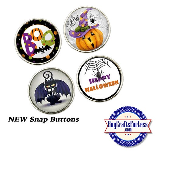 SNAP HALLOWEEN Buttons, 18mm INTERCHaNGABLE Buttons, 4 NeW designs +FREE Shipping & Discounts