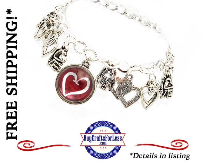 Heart CHARM BRACELET, 19 charms, Gift Box Avail- Best Seller +FREE SHiPPiNG & Discounts*