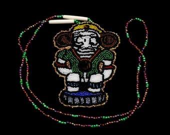 Taino Boriquen Puerto Rico Cemi God Symbol Beaded Rosette Native American