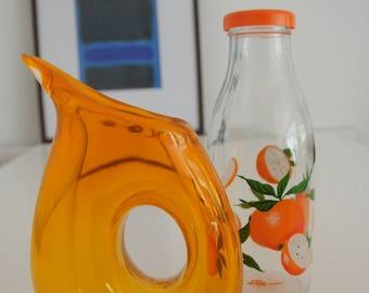 Wonderful Retro Orange Glass Jug