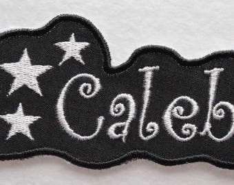 Name Patch, Iron On Patch, Patch, Custom Patch, Embroidered Name, Custom Name Patch, Iron On Name, Appliqué Name, Stars Name, Black Name