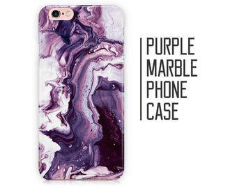 Purple Marble Phone Case for iPhone X 8 Plus 7 6 6s 5 5s 5c SE + Samsung S6 S7 S8+ Purple and White