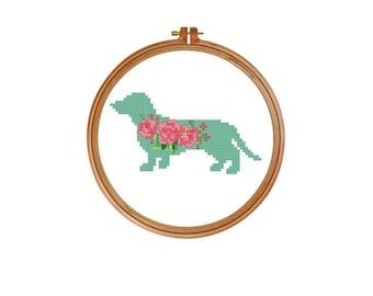 Dachshund Dog Silhouette Cross Stitch Pattern, floral chart , dog lovers cross stitch, Weiner Dog Cross Stitch, Dachshund cross stitch17-011