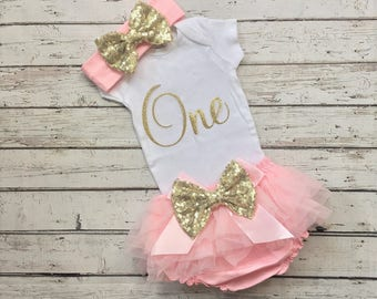 First Birthday Outfit Girl, Pink and Gold Birthday outfit, 1st Birthday baby girl, 1st birthday shirt, baby bloomers, baby sequin headband