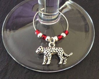 Leopard wine glass charm / animal wine glass charms / wine charms / table decor / animal lover gift / wine lover gift