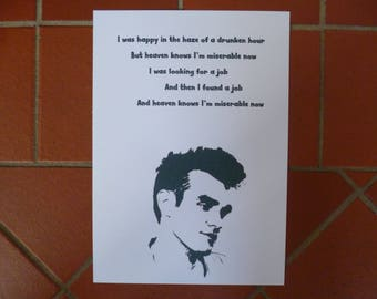 morrissey the smiths song lyrics stencil poster print