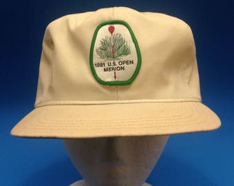 Vintage 1981 US Open Trucker Leather Strapback hat 1980s