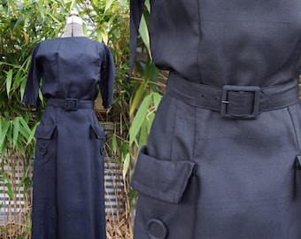 Amazing True Vintage Black Raw Silk 1950s or early 1960s Wiggle Belted Pristine Dress Small or X-Small