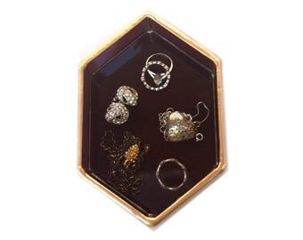 Ring Dish, Gem Ring Dish, Glass Ring Dish, Vanity Tray, Jewlery Dish, Jewelry Tray, burgundy, stained glass, catch all, vanity dish, jewelry