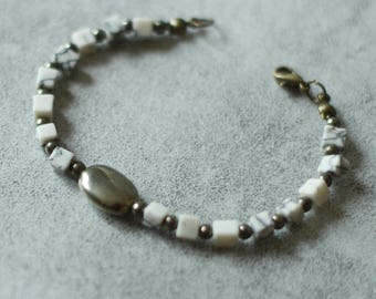 Marble and pyrite bracelet