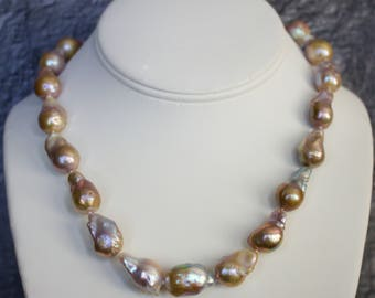 Fresh Water Baroque Pearls with 14k Gold Necklace.