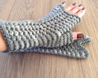 Handknitted fingerless gloves, mittens, wrist warmers, winter accessories, ready to ship, gift