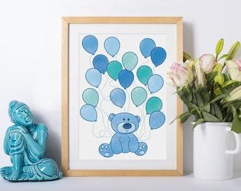 Digital File - Baby Shower Bear with Balloons Print - Baby Shower Gift, New mum, new baby gift, newborn, Nursery decoration, Newborn