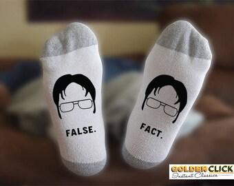 Dwight Schrute Socks, False, Fact, Funny Socks, Gift For Him, Gift For Husband