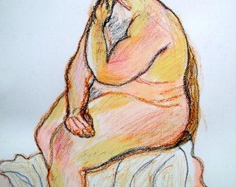 Life Drawing Man Sitting