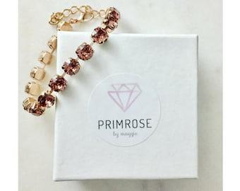 Blush Rose + Rose Gold, Swarovski Crystal Bracelet, Rose Gold Bracelet, Blush Pink, Bridesmaid Bracelet, Bridesmaid Gift, Vintage inspired