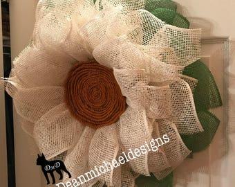 Front door wreath, Daisy wreath, summer wreath, Mother's day gift, modern wreaths, door wreath summer, burlap wreath, best door wreath