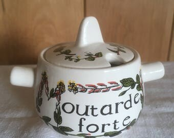 French Ceramic Mustard Pot  and lid , French Cuisine